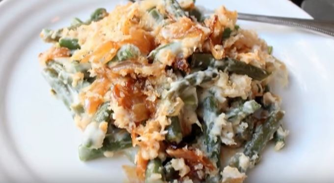 Easy Cheesy Green Bean Casserole With Homemade French Onions