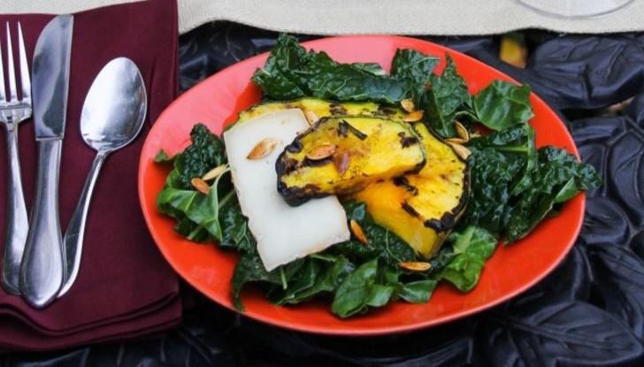 Grilled Kale Pumpkin Seed Salad Recipe