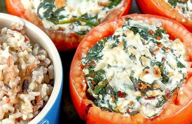 Ricotta Rice Stuffed Tomatoes Florentine Recipe