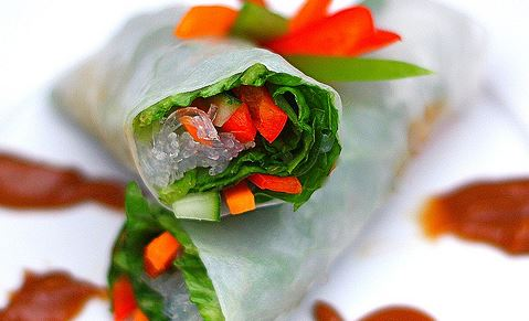 Vegetarian Spring Rolls With Dipping Sauce